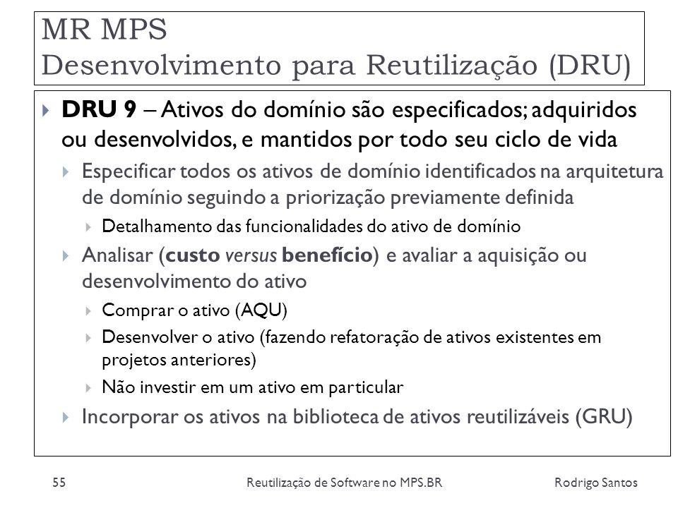 MR MPS Desenvolvimento para Reutilização (DRU) Rodrigo SantosReutilização de Software no MPS.BR55 DRU 9 – Ativos do domínio são especificados; adquiri