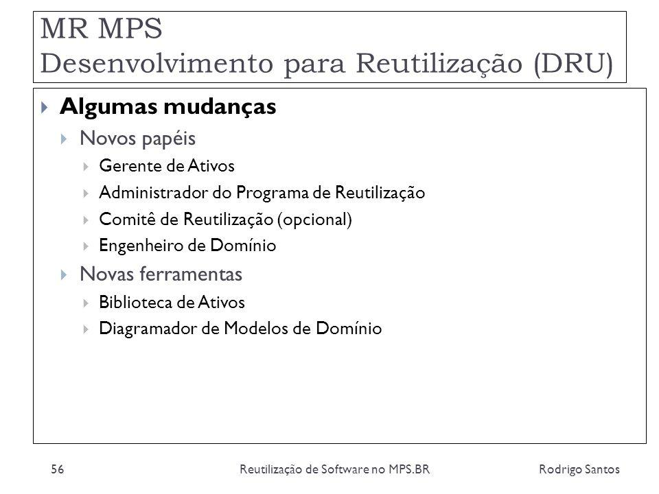 MR MPS Desenvolvimento para Reutilização (DRU) Rodrigo SantosReutilização de Software no MPS.BR56 Algumas mudanças Novos papéis Gerente de Ativos Admi