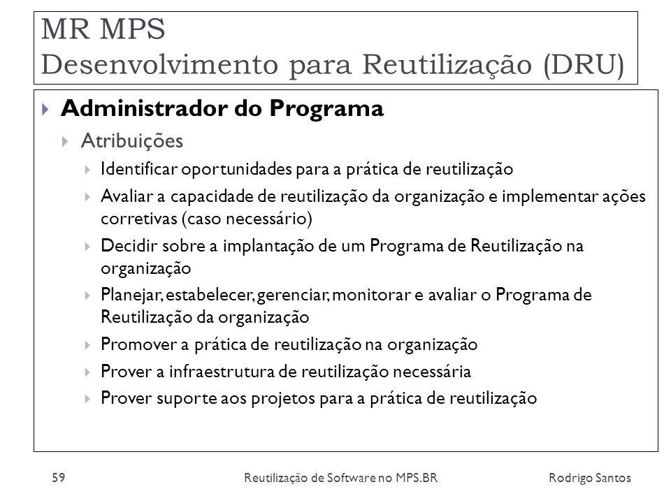MR MPS Desenvolvimento para Reutilização (DRU) Rodrigo SantosReutilização de Software no MPS.BR59 Administrador do Programa Atribuições Identificar op