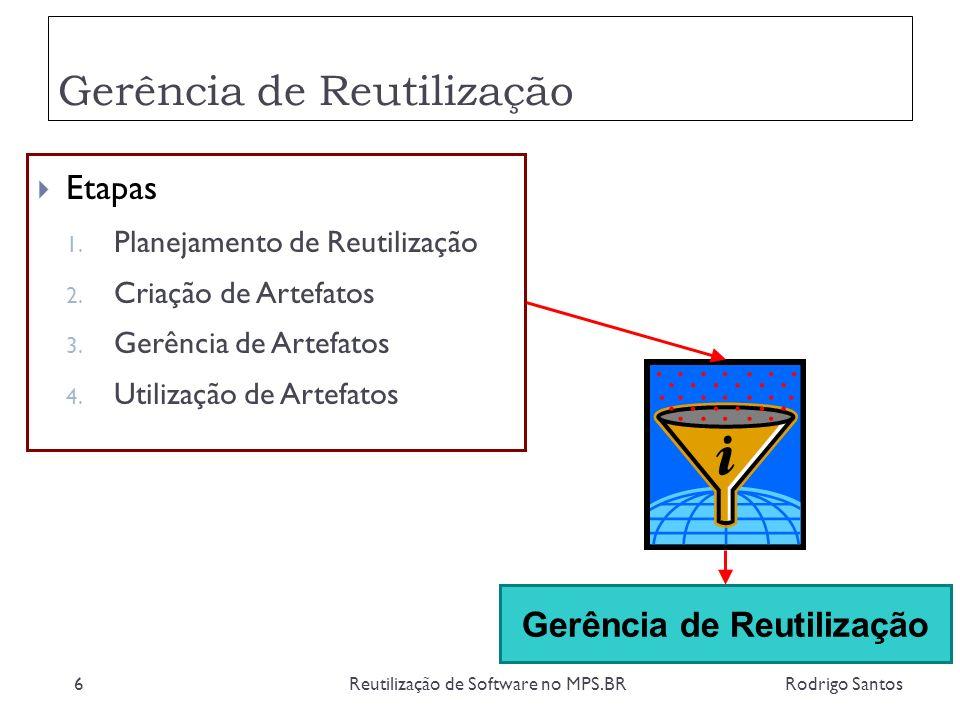 Gerência de Reutilização Rodrigo SantosReutilização de Software no MPS.BR7 Planejamento Criação Gerência Utilização Objetivos, Estratégias, Processos, Recursos Artefatos Artefatos, Descrições Lições Requisitos, Lições, Processos, Artefatos Requisitos