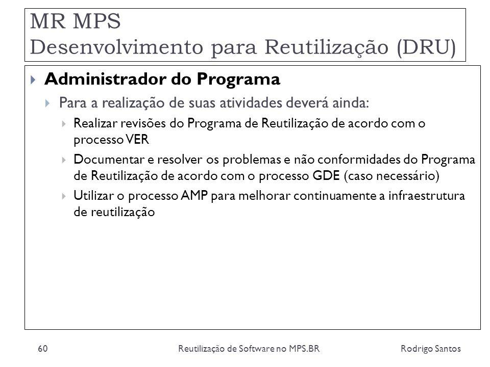 MR MPS Desenvolvimento para Reutilização (DRU) Rodrigo SantosReutilização de Software no MPS.BR60 Administrador do Programa Para a realização de suas