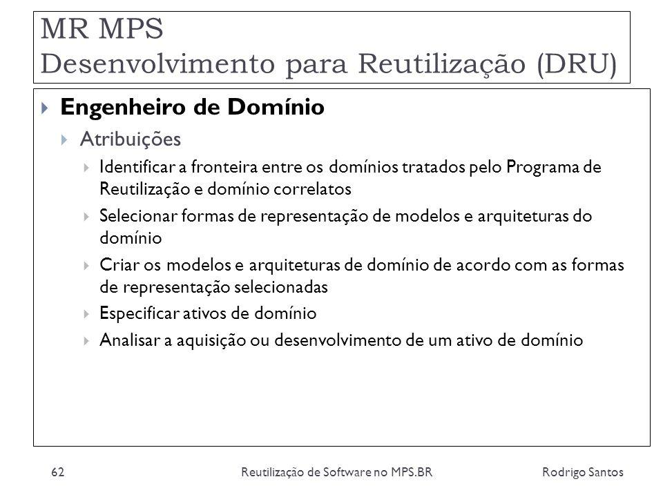 MR MPS Desenvolvimento para Reutilização (DRU) Rodrigo SantosReutilização de Software no MPS.BR62 Engenheiro de Domínio Atribuições Identificar a fron