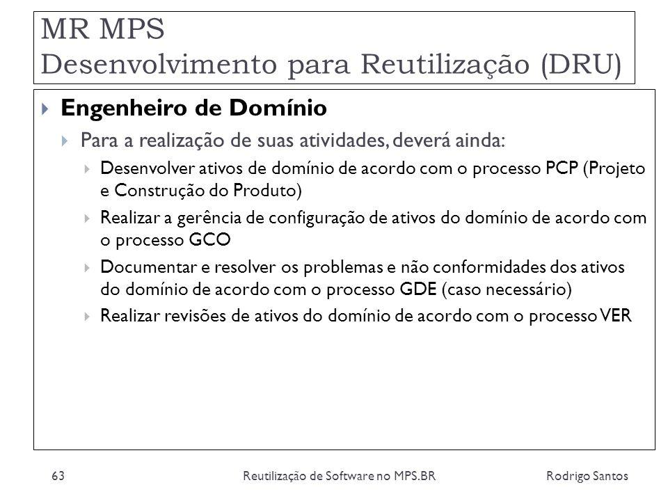 MR MPS Desenvolvimento para Reutilização (DRU) Rodrigo SantosReutilização de Software no MPS.BR63 Engenheiro de Domínio Para a realização de suas ativ