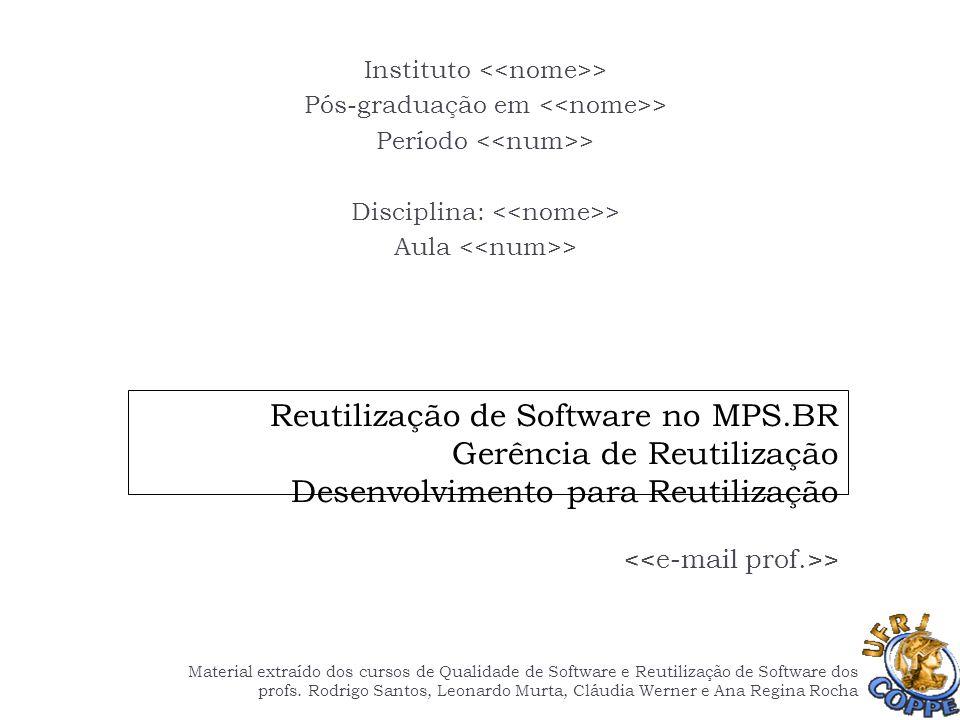 Reutilização de Software no MPS.BR Gerência de Reutilização Desenvolvimento para Reutilização > Instituto > Pós-graduação em > Período > Disciplina: >