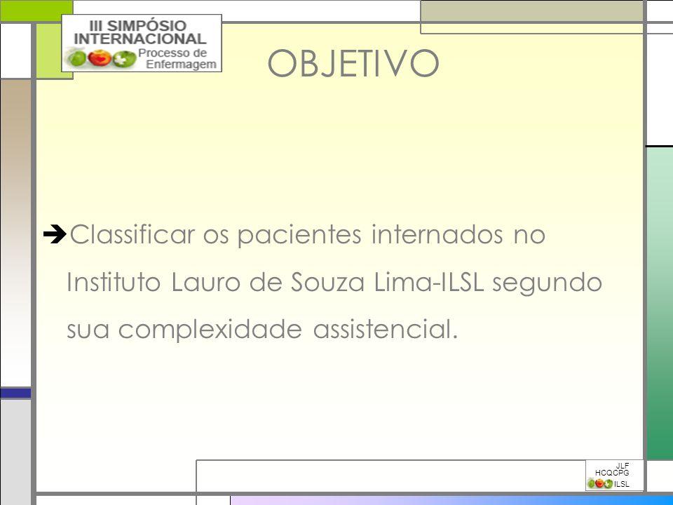 OBJETIVO Classificar os pacientes internados no Instituto Lauro de Souza Lima-ILSL segundo sua complexidade assistencial. JLF HCQCPG ILSL