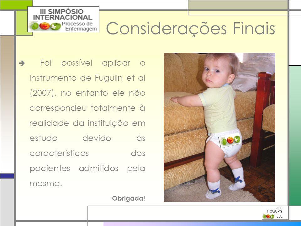 Considerações Finais Foi possível aplicar o instrumento de Fugulin et al (2007), no entanto ele não correspondeu totalmente à realidade da instituição