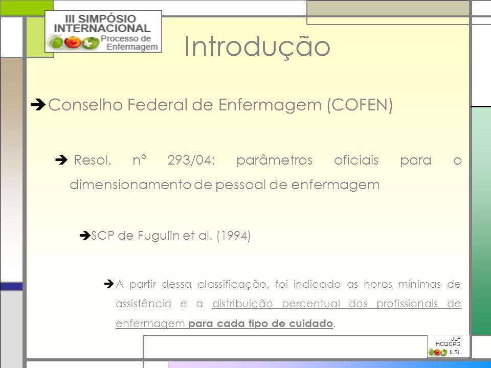 Introdução Conselho Federal de Enfermagem (COFEN) Resol. nº 293/04: parâmetros oficiais para o dimensionamento de pessoal de enfermagem SCP de Fugulin