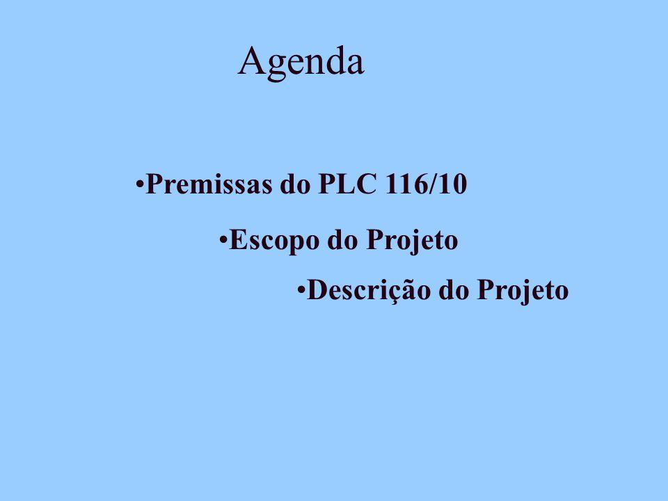 Agenda Escopo do Projeto Descrição do Projeto Premissas do PLC 116/10