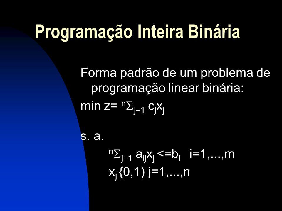 Programação Inteira Binária Forma padrão de um problema de programação linear binária: min z= n j=1 c j x j s. a. n j=1 a ij x j <=b i i=1,...,m x j {