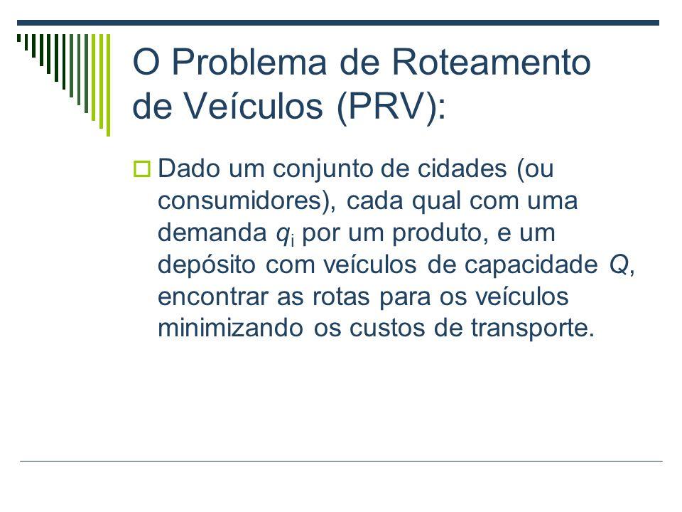 O Problema de Roteamento de Veículos (PRV): Dado um conjunto de cidades (ou consumidores), cada qual com uma demanda q i por um produto, e um depósito