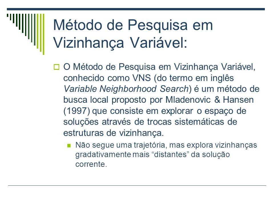 Método de Pesquisa em Vizinhança Variável: O Método de Pesquisa em Vizinhança Variável, conhecido como VNS (do termo em inglês Variable Neighborhood S