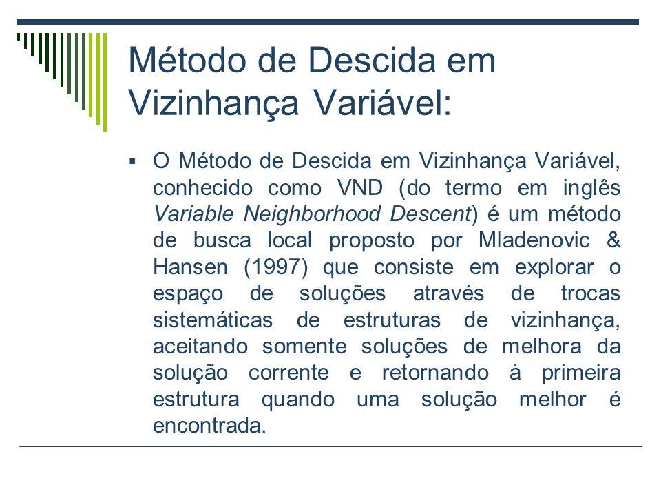 Método de Descida em Vizinhança Variável: O Método de Descida em Vizinhança Variável, conhecido como VND (do termo em inglês Variable Neighborhood Des