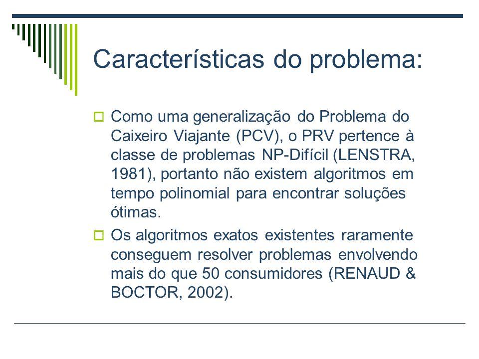 Características do problema: Como uma generalização do Problema do Caixeiro Viajante (PCV), o PRV pertence à classe de problemas NP-Difícil (LENSTRA,