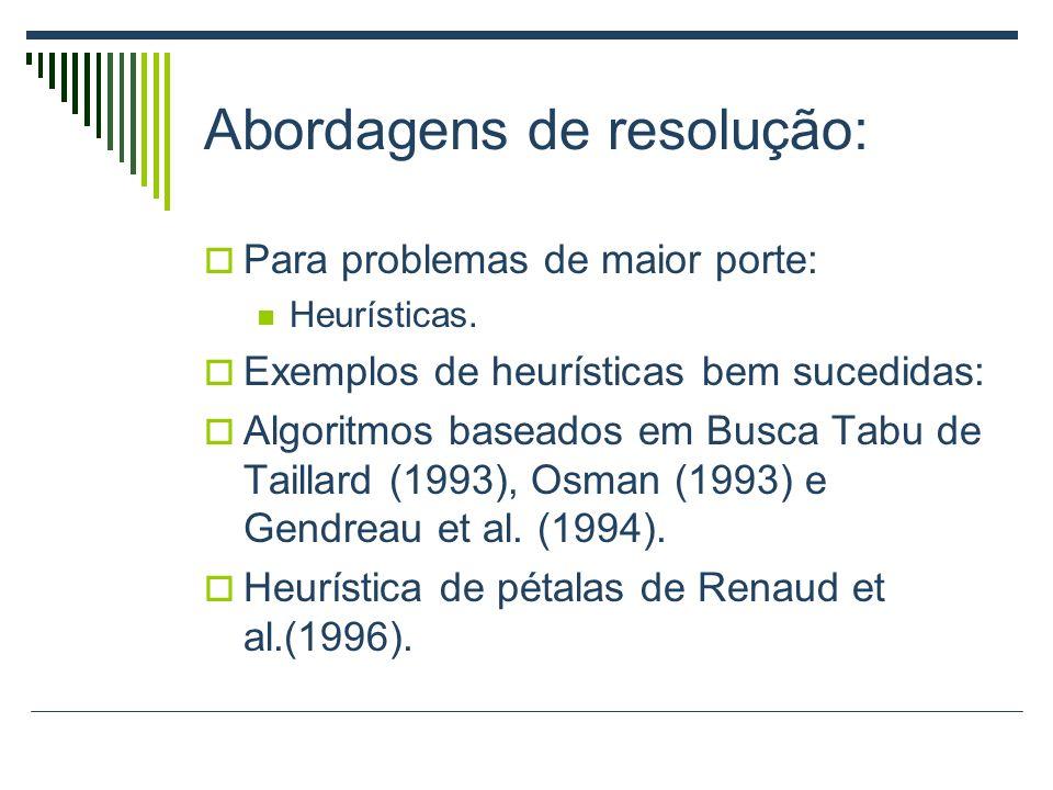 Abordagens de resolução: Para problemas de maior porte: Heurísticas. Exemplos de heurísticas bem sucedidas: Algoritmos baseados em Busca Tabu de Taill