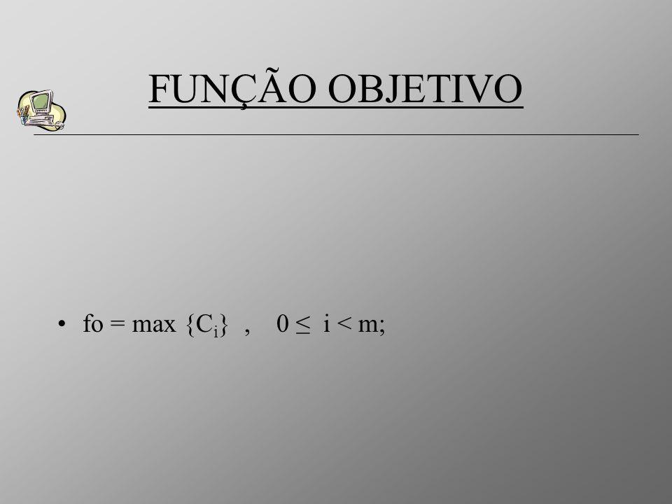fo = max {C i }, 0 i < m; FUNÇÃO OBJETIVO