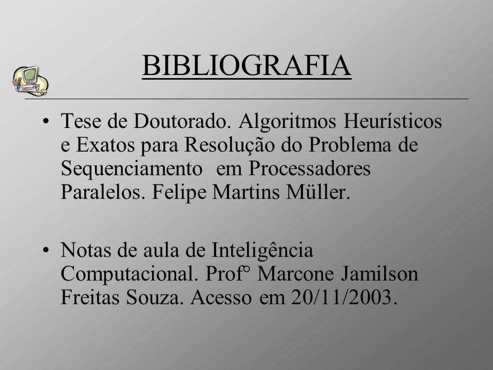 BIBLIOGRAFIA Tese de Doutorado. Algoritmos Heurísticos e Exatos para Resolução do Problema de Sequenciamento em Processadores Paralelos. Felipe Martin