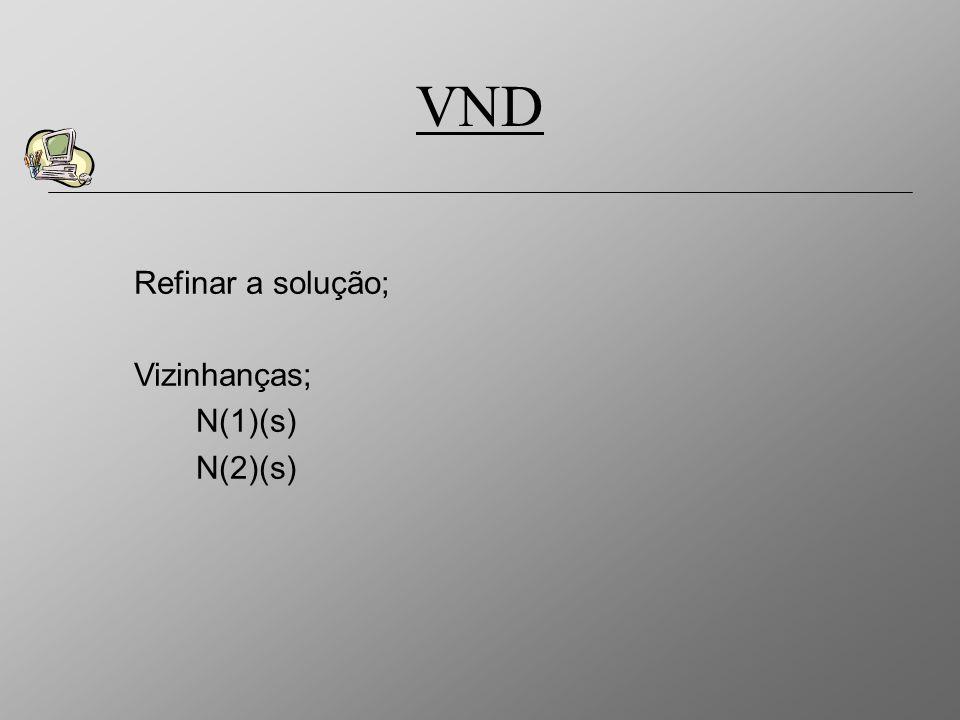 VND Refinar a solução; Vizinhanças; N(1)(s) N(2)(s)