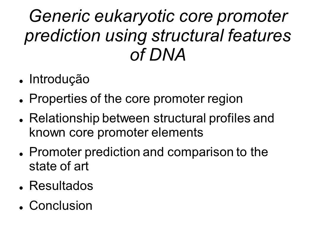 Relationship between structural profiles and known core promoter elements 4 elementos TATA, INR, BRE, and CpG islands Relação entre presença e perfil observado