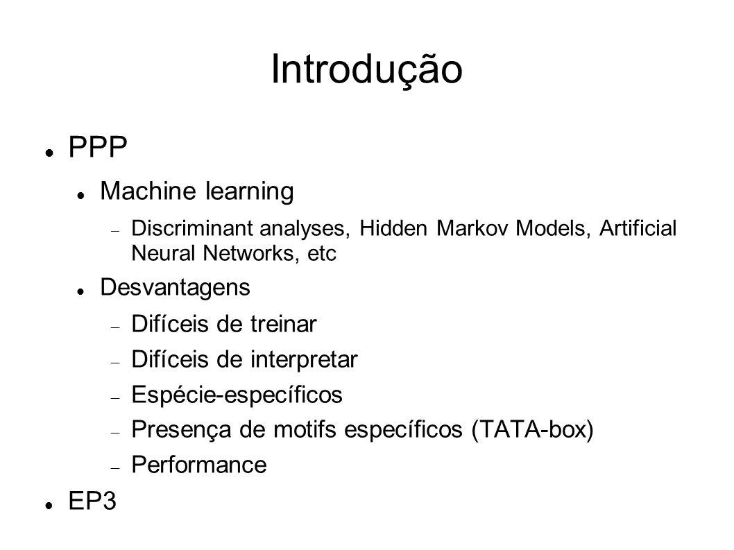 PPP Machine learning Discriminant analyses, Hidden Markov Models, Artificial Neural Networks, etc Desvantagens Difíceis de treinar Difíceis de interpretar Espécie-específicos Presença de motifs específicos (TATA-box) Performance EP3 Introdução