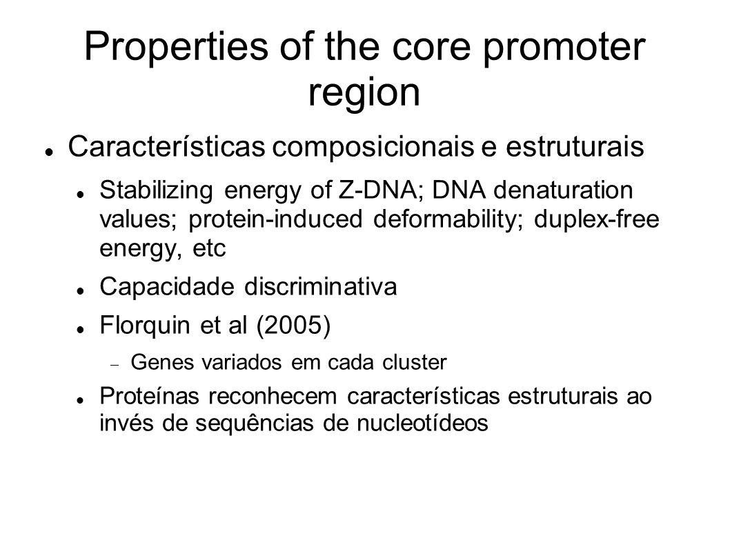 Properties of the core promoter region Características composicionais e estruturais Stabilizing energy of Z-DNA; DNA denaturation values; protein-induced deformability; duplex-free energy, etc Capacidade discriminativa Florquin et al (2005) Genes variados em cada cluster Proteínas reconhecem características estruturais ao invés de sequências de nucleotídeos
