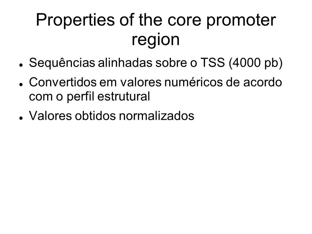 Properties of the core promoter region Sequências alinhadas sobre o TSS (4000 pb) Convertidos em valores numéricos de acordo com o perfil estrutural V