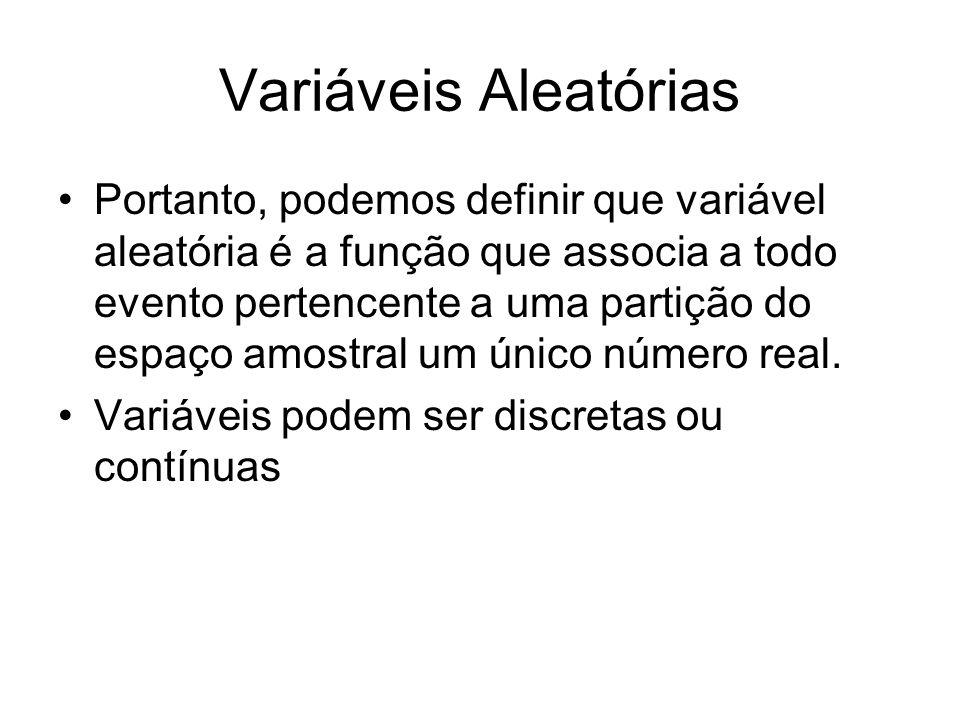 Variáveis Aleatórias Portanto, podemos definir que variável aleatória é a função que associa a todo evento pertencente a uma partição do espaço amostr