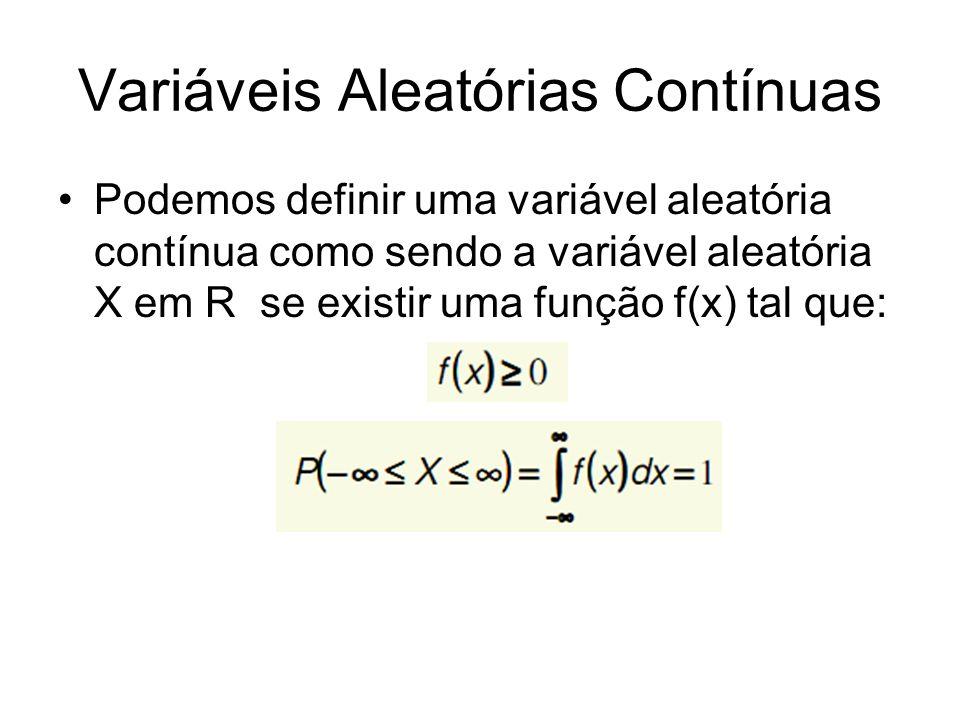Variáveis Aleatórias Contínuas Podemos definir uma variável aleatória contínua como sendo a variável aleatória X em R se existir uma função f(x) tal q