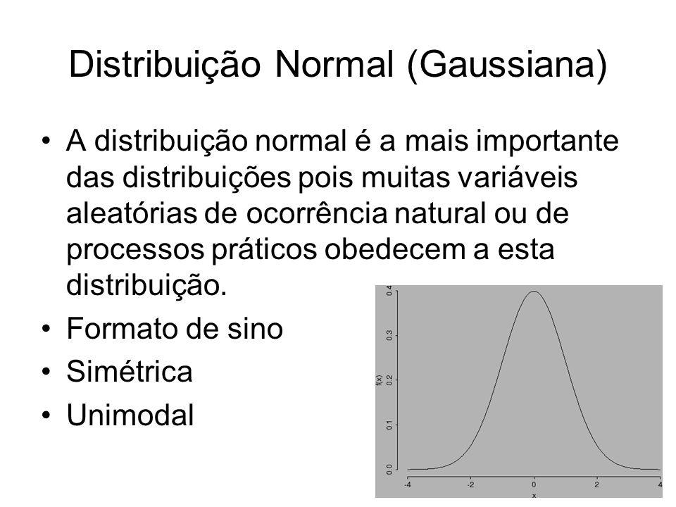 Distribuição Normal (Gaussiana) A distribuição normal é a mais importante das distribuições pois muitas variáveis aleatórias de ocorrência natural ou