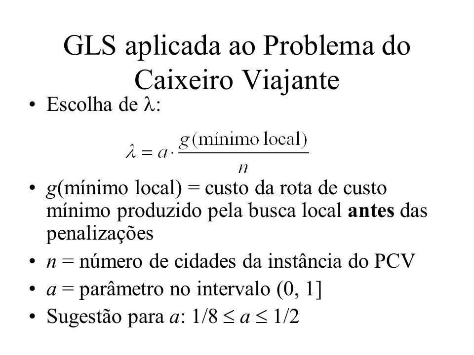 GLS aplicada ao Problema do Caixeiro Viajante Escolha de : g(mínimo local) = custo da rota de custo mínimo produzido pela busca local antes das penalizações n = número de cidades da instância do PCV a = parâmetro no intervalo (0, 1] Sugestão para a: 1/8 a 1/2
