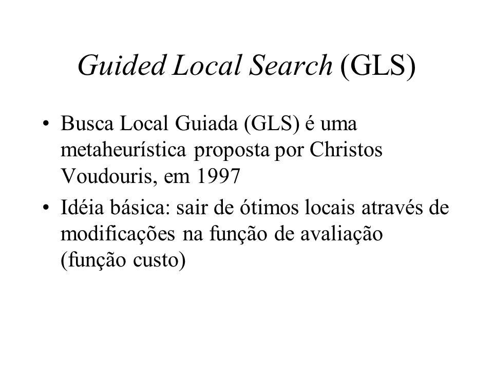 Guided Local Search (GLS) Seja g: s S g(s) uma função custo Na busca local, GLS substitui g pela seguinte função custo aumentada h: s = solução candidata M = número de atributos (características) p i = penalização para o i-ésimo atributo