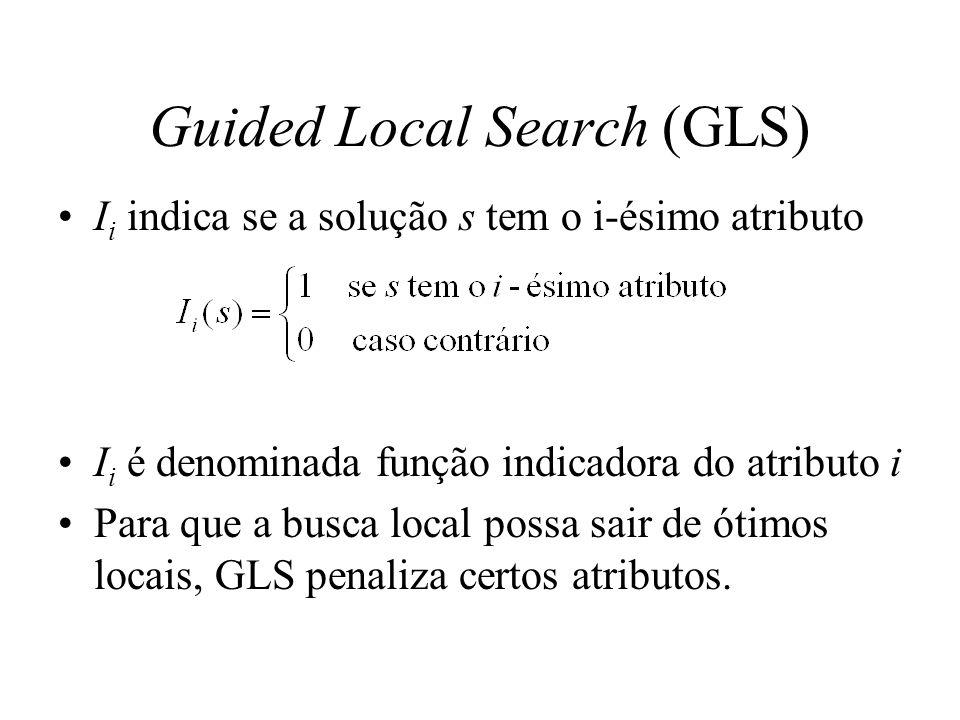 Guided Local Search (GLS) I i indica se a solução s tem o i-ésimo atributo I i é denominada função indicadora do atributo i Para que a busca local pos