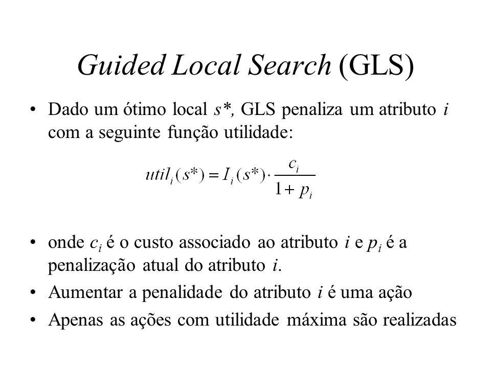 Guided Local Search (GLS) Dado um ótimo local s*, GLS penaliza um atributo i com a seguinte função utilidade: onde c i é o custo associado ao atributo i e p i é a penalização atual do atributo i.
