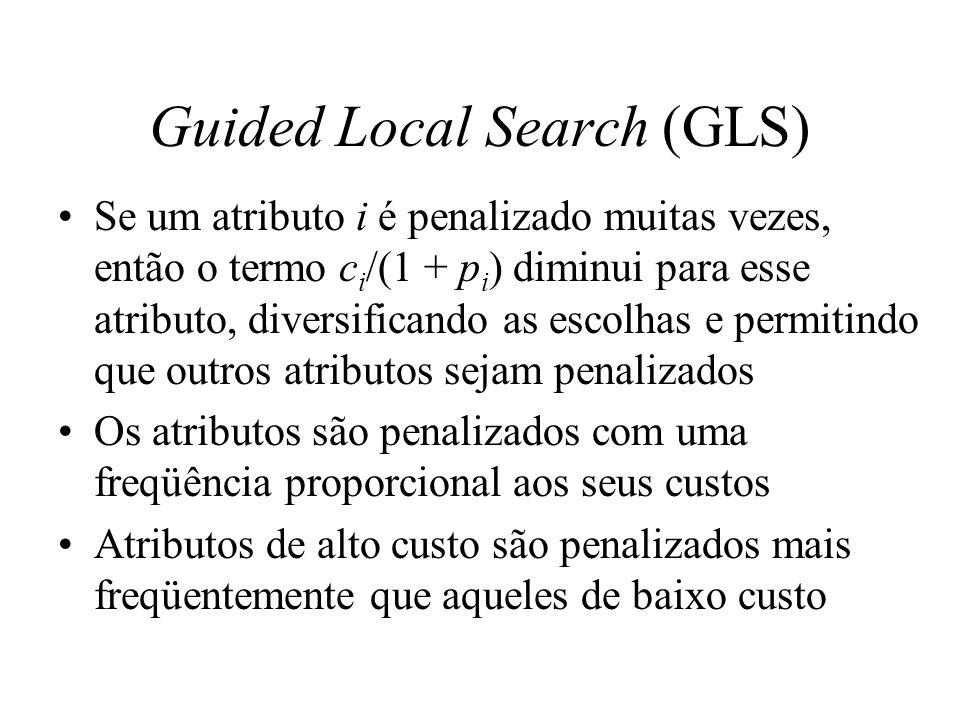 Guided Local Search (GLS) O método pressupõe que a exploração pode ser feita apenas com base nas características de custo de ótimos locais já encontrados, uma vez que somente as características de ótimos locais são penalizados