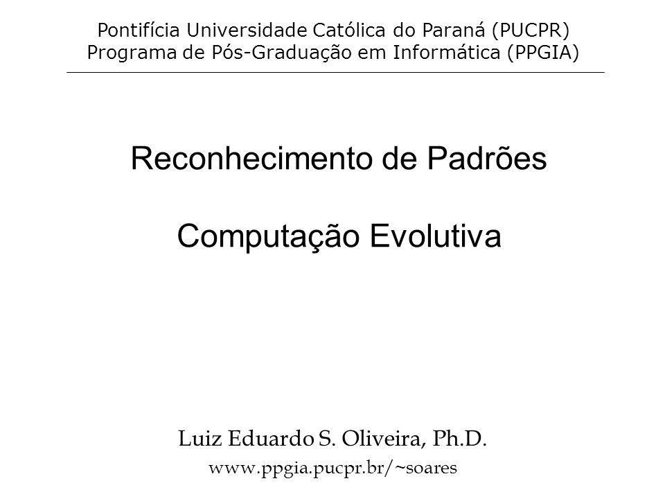Laboratório http://homepage.sunrise.ch/homepage/pglaus/gentore.ht mhttp://homepage.sunrise.ch/homepage/pglaus/gentore.ht m –Fractal http://www- cse.uta.edu/~cook/ai1/lectures/applets/gatsp/TSP.htmlhttp://www- cse.uta.edu/~cook/ai1/lectures/applets/gatsp/TSP.html –Caixeiro viajante - applet java http://math.hws.edu/xJava/GA/ –Applet de um mundo artificial http://userweb.elec.gla.ac.uk/y/yunli/ga_demo/ –Simulador de AG.