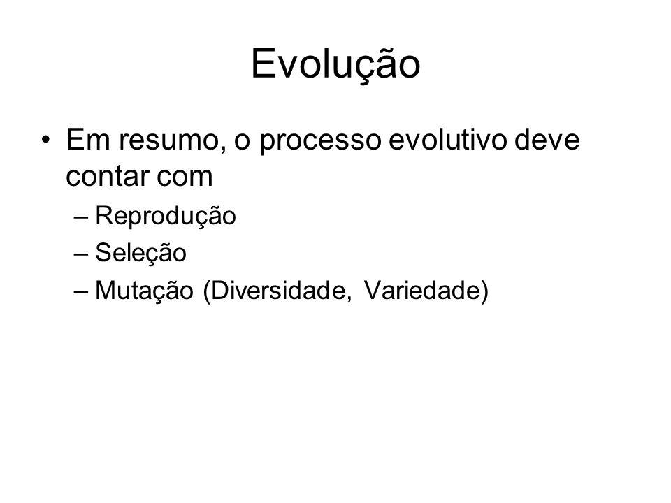 Evolução Em resumo, o processo evolutivo deve contar com –Reprodução –Seleção –Mutação (Diversidade, Variedade)