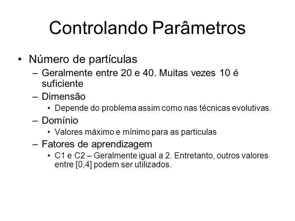 Controlando Parâmetros Número de partículas –Geralmente entre 20 e 40. Muitas vezes 10 é suficiente –Dimensão Depende do problema assim como nas técni