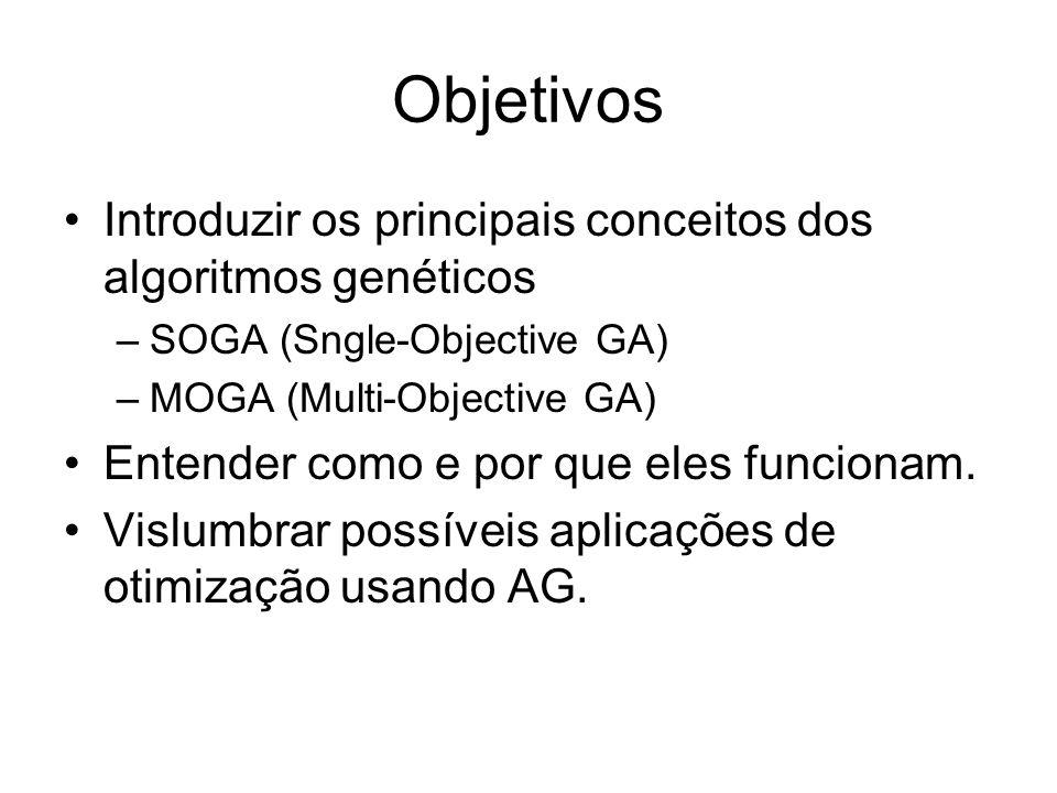 Objetivos Introduzir os principais conceitos dos algoritmos genéticos –SOGA (Sngle-Objective GA) –MOGA (Multi-Objective GA) Entender como e por que eles funcionam.