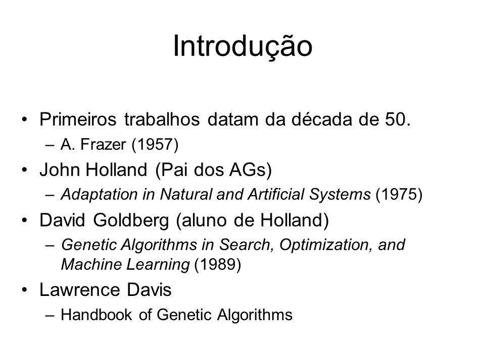 Introdução Primeiros trabalhos datam da década de 50. –A. Frazer (1957) John Holland (Pai dos AGs) –Adaptation in Natural and Artificial Systems (1975