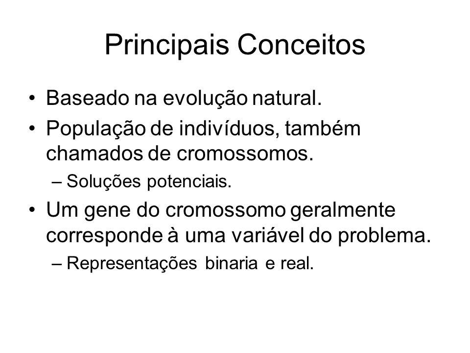Principais Conceitos Baseado na evolução natural. População de indivíduos, também chamados de cromossomos. –Soluções potenciais. Um gene do cromossomo