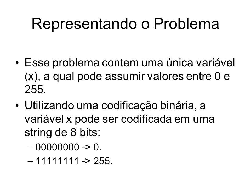 Representando o Problema Esse problema contem uma única variável (x), a qual pode assumir valores entre 0 e 255. Utilizando uma codificação binária, a