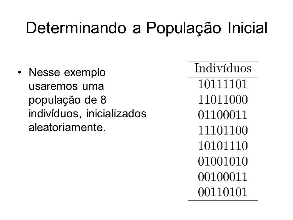 Determinando a População Inicial Nesse exemplo usaremos uma população de 8 indivíduos, inicializados aleatoriamente.