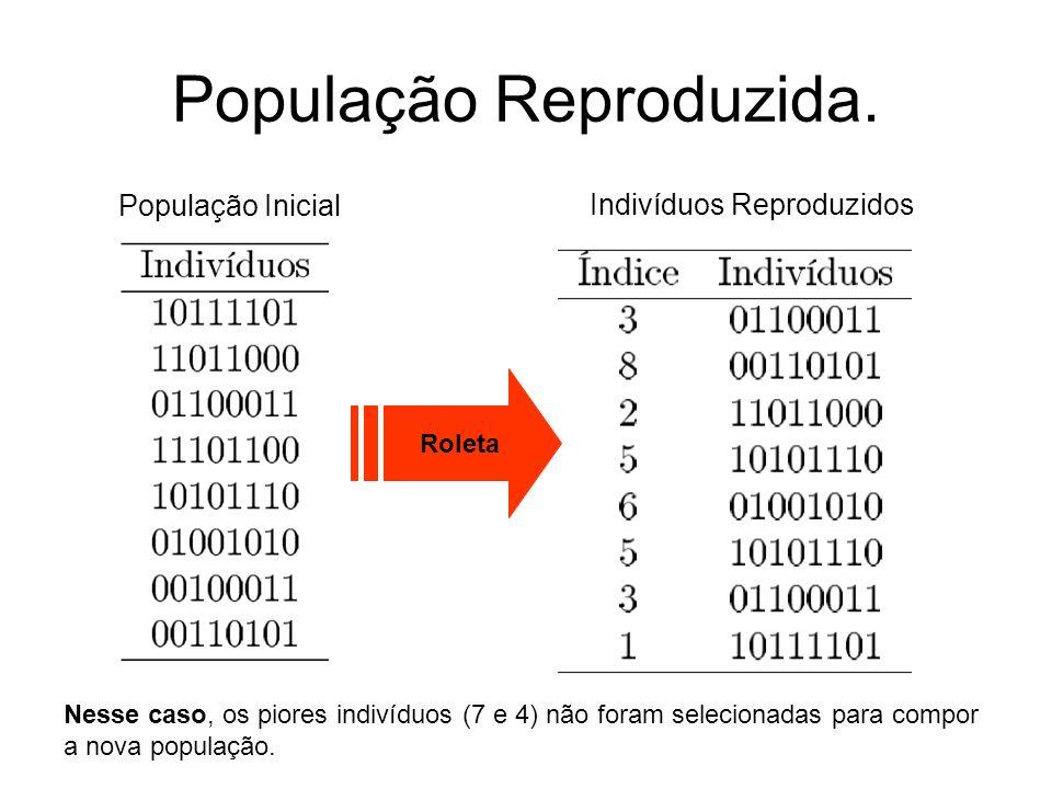 População Reproduzida. População Inicial Indivíduos Reproduzidos Roleta Nesse caso, os piores indivíduos (7 e 4) não foram selecionadas para compor a