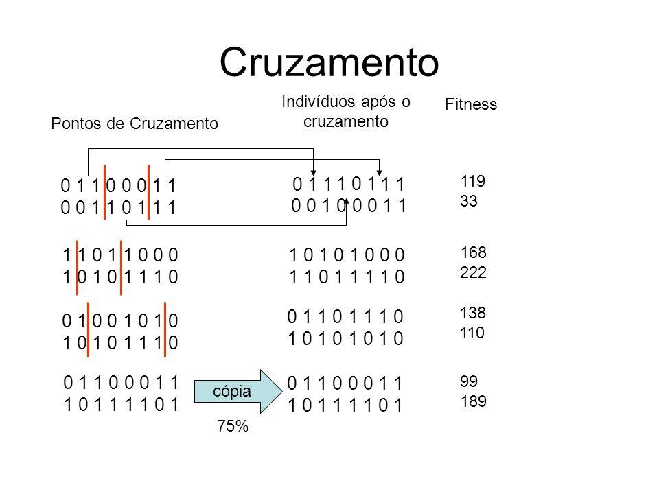 Cruzamento 0 1 1 0 0 0 1 1 0 0 1 1 0 1 1 1 1 1 0 1 1 0 0 0 1 0 1 0 1 1 1 0 0 1 0 0 1 0 1 0 1 0 1 0 1 1 1 0 0 1 1 0 0 0 1 1 1 0 1 1 1 1 0 1 Pontos de Cruzamento Indivíduos após o cruzamento 0 1 1 1 0 1 1 0 1 1 0 1 1 1 0 1 0 1 0 0 0 1 0 0 0 1 1 0 1 1 0 0 0 1 1 1 0 1 1 1 1 0 1 cópia 75% 1 0 1 0 1 0 0 0 1 1 0 1 1 1 1 0 119 33 168 222 138 110 99 189 Fitness