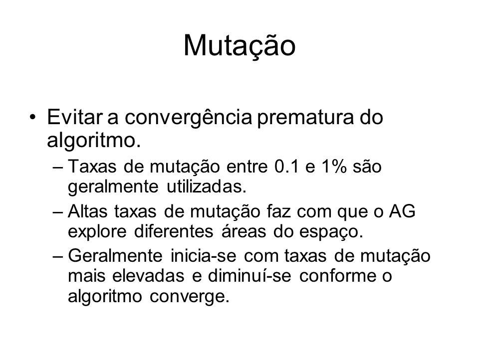Mutação Evitar a convergência prematura do algoritmo. –Taxas de mutação entre 0.1 e 1% são geralmente utilizadas. –Altas taxas de mutação faz com que