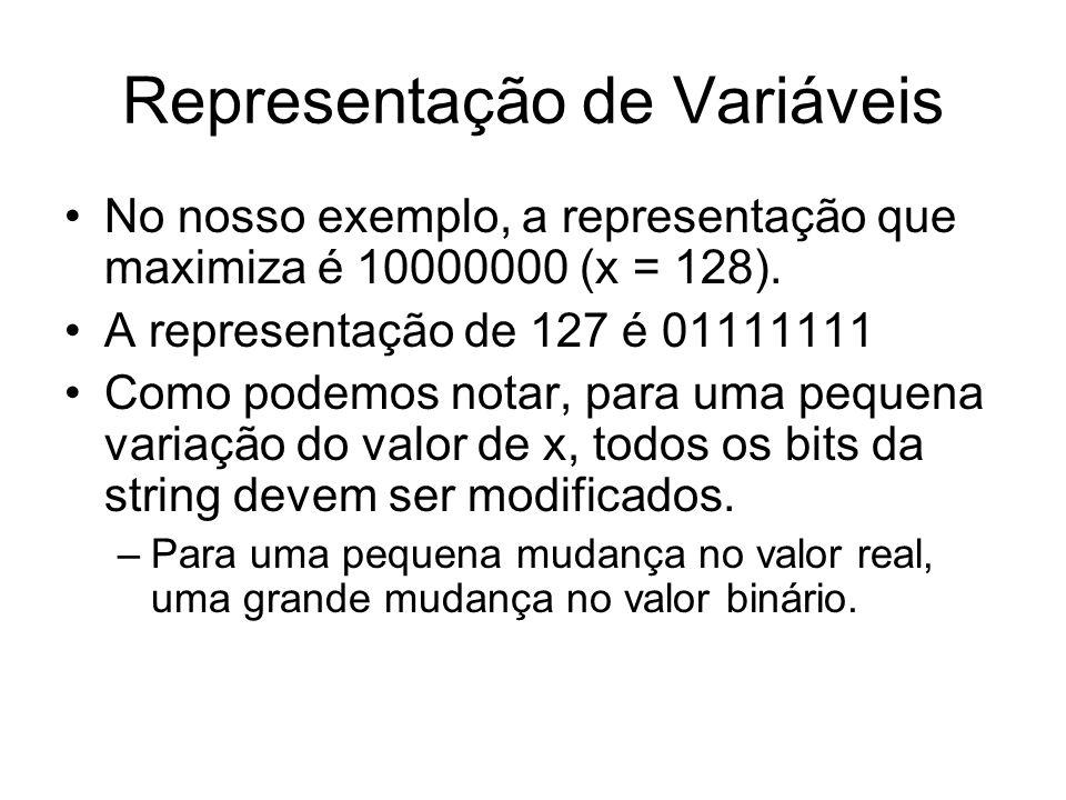 Representação de Variáveis No nosso exemplo, a representação que maximiza é 10000000 (x = 128). A representação de 127 é 01111111 Como podemos notar,