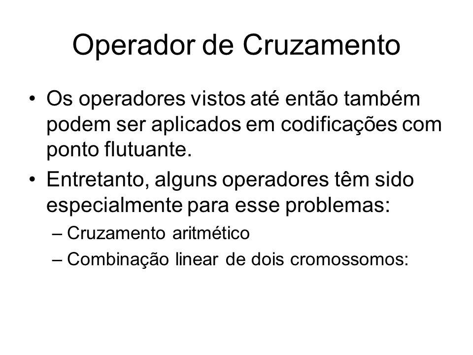 Operador de Cruzamento Os operadores vistos até então também podem ser aplicados em codificações com ponto flutuante. Entretanto, alguns operadores tê