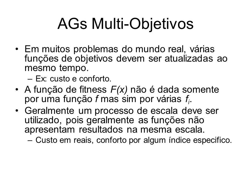 AGs Multi-Objetivos Em muitos problemas do mundo real, várias funções de objetivos devem ser atualizadas ao mesmo tempo. –Ex: custo e conforto. A funç