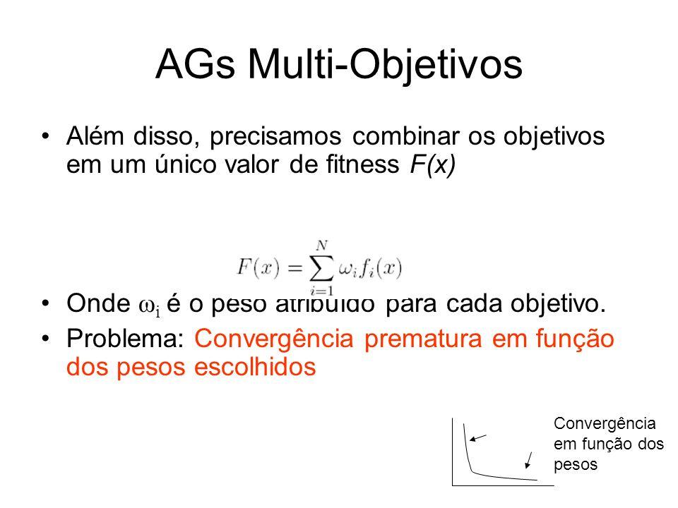 AGs Multi-Objetivos Além disso, precisamos combinar os objetivos em um único valor de fitness F(x) Onde ω i é o peso atribuído para cada objetivo.