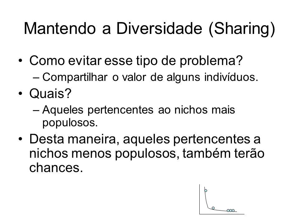 Mantendo a Diversidade (Sharing) Como evitar esse tipo de problema? –Compartilhar o valor de alguns indivíduos. Quais? –Aqueles pertencentes ao nichos