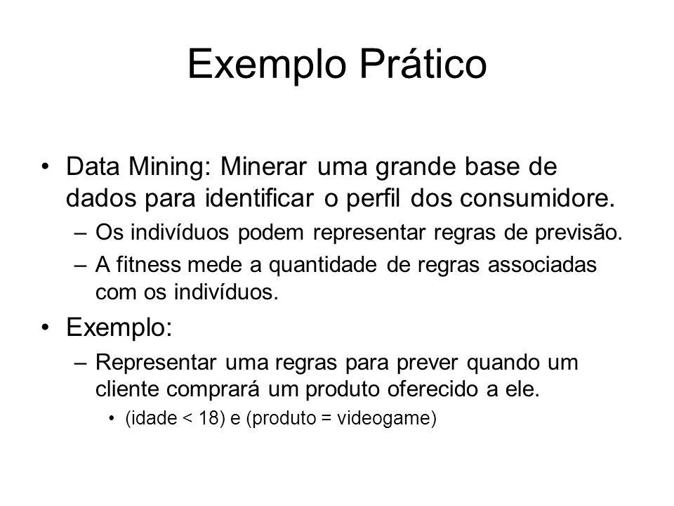 Exemplo Prático Data Mining: Minerar uma grande base de dados para identificar o perfil dos consumidore. –Os indivíduos podem representar regras de pr